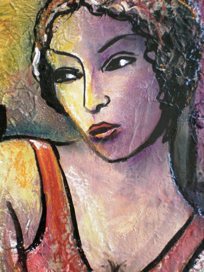 Tableaux huile toile art contemporain portrait for Cotation akoun